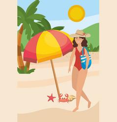 girl with swim wear design vector image
