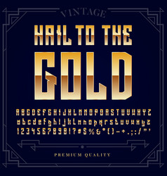 gold metallic font set letters numbers vector image