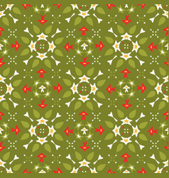 green and red festive winter star ornamental vector image