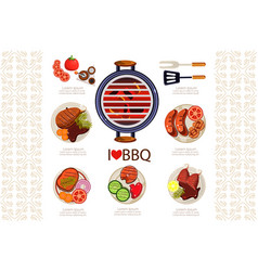 Grill with hot coals kitchen utensils for cooking vector