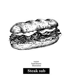 hand drawn sketch steak sub sandwich black and vector image