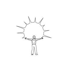 happy man with arms outstretched in time sunshine vector image