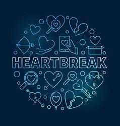 heartbreak round blue outline vector image