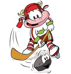 hockey mascot vector image