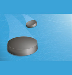hockey puck on the court blue ice vector image