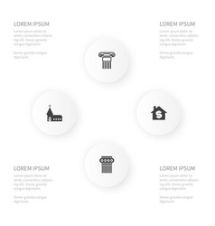 Icon construction set of sculpture chapel house vector