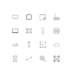 Internet technologies linear thin icons set vector