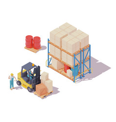isometric forklift and warehouse workers vector image
