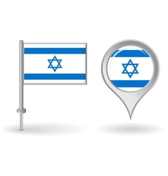 Israeli pin icon and map pointer flag vector