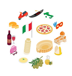 italy isometric 3d icons vector image
