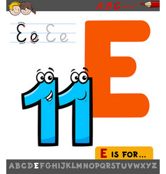 Letter e worksheet with cartoon eleven number vector
