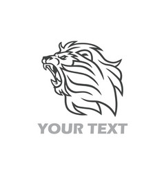 lion roaring logo line art design template vector image