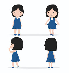 little girl character design set vector image
