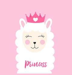 little princess cute llama with heart for card an vector image