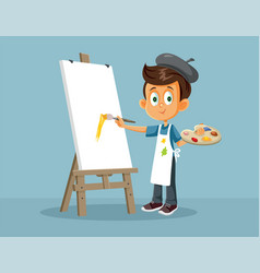 Male art student painting on an easel carto vector