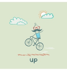 Man flying on a bicycle vector