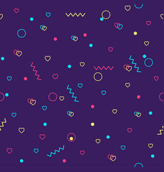 memphis background with geometric elements vector image