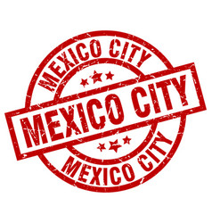 Mexico city red round grunge stamp vector