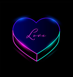neon heart with colorful illumination line vector image