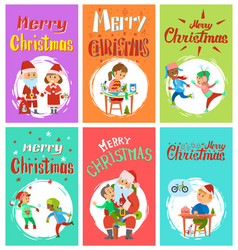 New year holidays merry christmas postcards set vector