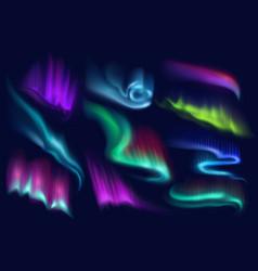 Northern polar aurora borealis lights set vector