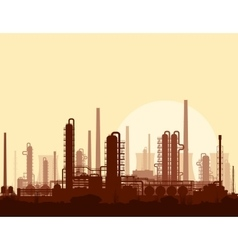 Oil and gas refinery at sunset vector image