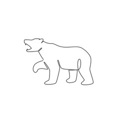 one continuous line drawing elegant bear vector image