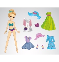 Paper Fashion Casual Doll vector image