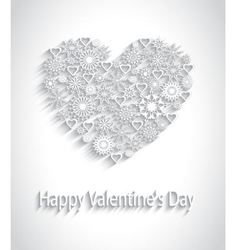 paper heart with a pattern of snowflakes vector image