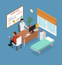 Patient and doctor appointment isometric view vector