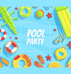 Pool party banner template summer party vector