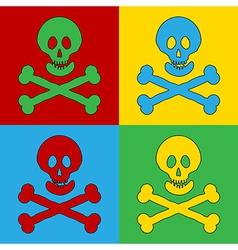 Pop art skull and bones danger sign icons vector image