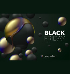 realistic black friday sale banner concept vector image