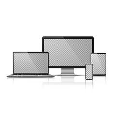 realistic computer laptop smartphone vector image