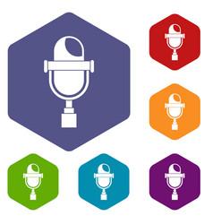 retro microphone icons set hexagon vector image vector image