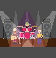 Rock band flat vector