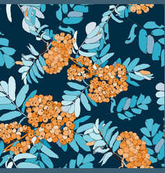 rowan seamless pattern with orange rowan berries vector image