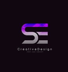 Se letter logo design purple texture creative vector