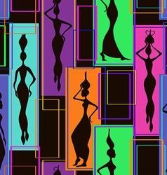 Seamless pattern african women vector