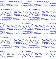 Seamless pattern ethnic indigo watercolor vector