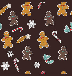 seamless pattern gingerbread and christmas symbols vector image