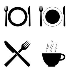 set four symbols for cafes and restaurants vector image