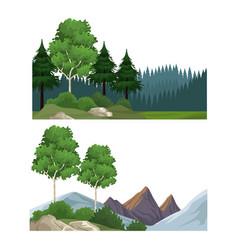 set of nature landscapes vector image
