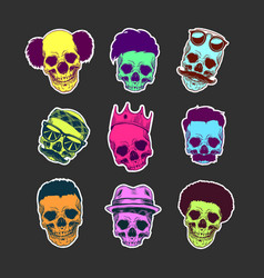 set skulls with haircut and mustache in vector image
