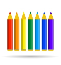 Seven pencils of rainbow colors vector image