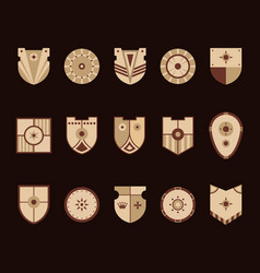 shields icons set vector image
