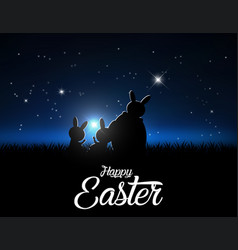 silhouettes of easter bunnies against a moonlight vector image