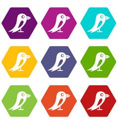 social network bird icon set color hexahedron vector image