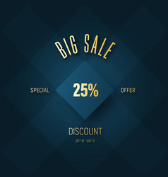 square banner for a big sale and a golden vector image