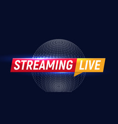 Streaming live logo online video stream icon vector